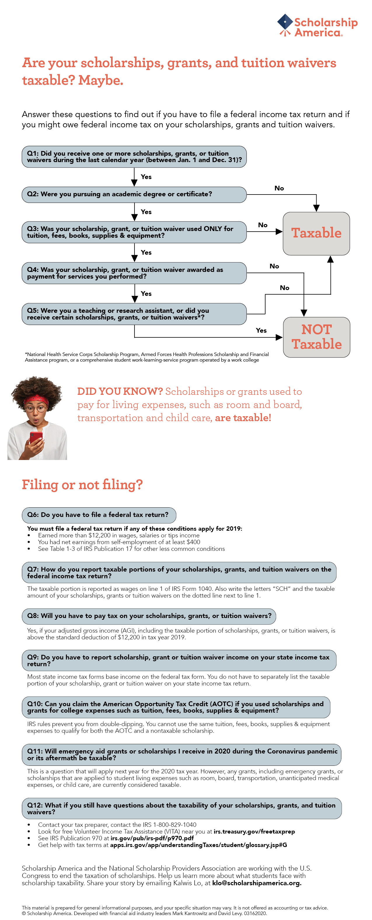 Are your scholarships, grants, and tuition waivers taxable? Maybe. Answer questions to find out if you have to file a federal income tax return and if you might owe federal income tax on your scholarships, grants and tuition waivers.